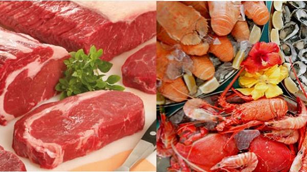 Các loại hải sản, thịt đỏ giúp tăng cường sinh lý nam giới